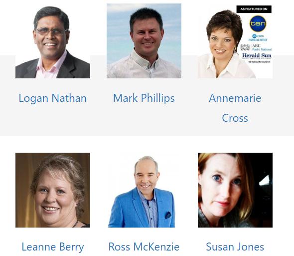 Logan Nathan, Mark Phillips, Annemarie Cross, Leanne Berry, Ross McKenzie, Susan Jones